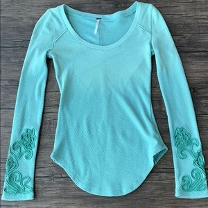 Free people embroidered mesh sleeve top